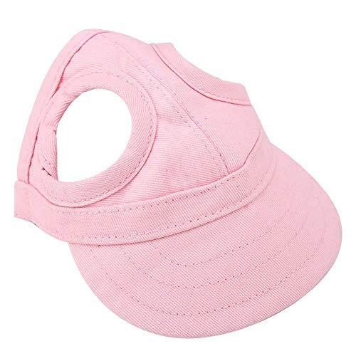 Pet Dog Sun Protection Visor Hat with Adjustable Strap Sport Hat (Pink S)