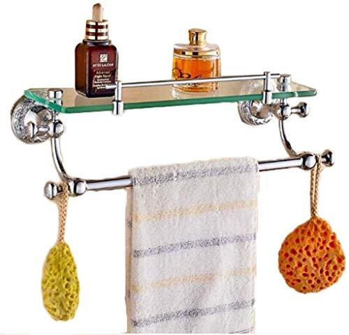Badplank, badkamerplank, keuken, keukenkruiden, commerciële glazen wand, hangbox, zeepkist, handdoekhouder (kleur: zilver, grootte: 56 x 13 cm) 39*13cm zilver