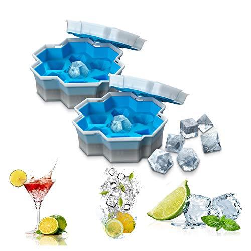 Bandejas de cubitos de hielo, Molde de hielo de dados de silicona para el hogar, Bandejas de hielo para bebidas refrigeradas, Whisky y cócteles, Bandeja de silicona de grado alimenticio, 2 piezas