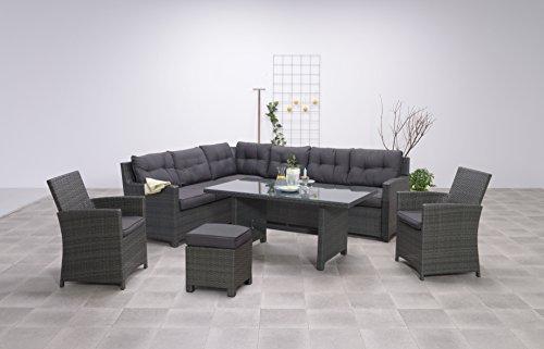 Garden Impressions Hohe Dining Poly Rattan Lounge Aboyne inkl. Zwei Sesseln und einem Hocker