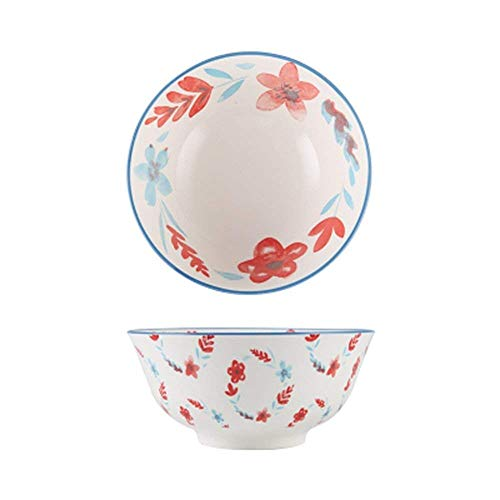 GAOFQ Tableware, Tools for Dining Large Fruit Salad Cereal Bowl Soup Ramen Pasta Mixing Serving Bowl Lovely Creative Hand Painted Ceramic Tableware Oven Microwave Safe 6 Inches,Blue Flower