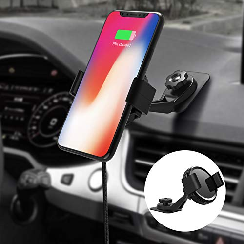 KOAKUMA Car Phone Mount, Universal Smartphone Car Holder Cradle Wireless Car Charger Mount for iPhone 11 Pro Max 11 Pro 11 XS MAX XS XR X 8 Samsung Galaxy S10 S9 S8, Note 10 Note 9 and More (Black)