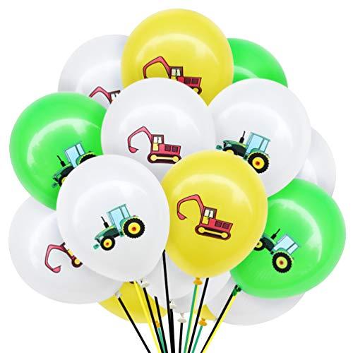 Amosfun BAU Thema Luftballons Set Fahrzeug Bagger Druck Alles Gute zum Geburtstag Latex Luftballons Ingenieur Thema gastgeschenke 12 Zoll 40 stück