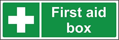 """Hinweisschild für Erste-Hilfe-Koffer, englischsprachige Aufschrift """"First aid box"""", Hartkunststoff, Stärke - 1,2 mm, 150 mm x 50 mm"""