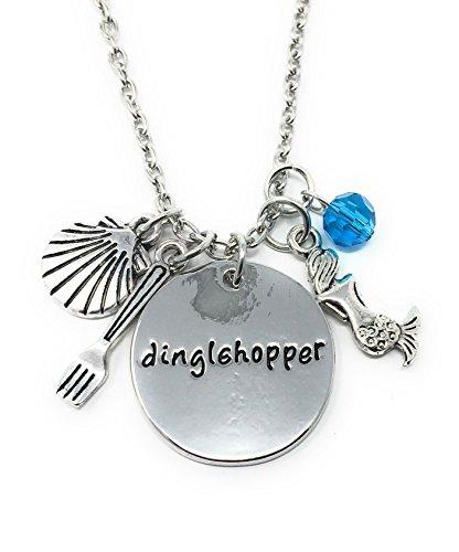 Cadoline Silberton Dinglehopper Graviert Anhänger Halskette 2.2cm Durchmesser Mit 18 Zoll Kette Das Wenig Meerjungfrau Ariel Gabel