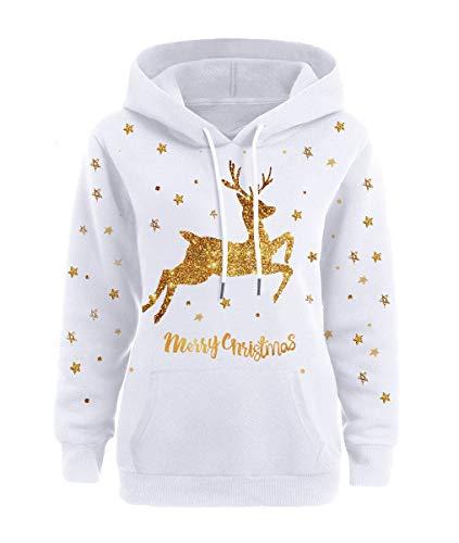 Yesgirl Weihnachten Pullover Damen Weihnachtspulli Teenager Mädchen Rudolph Rentier Elfe Kapuzen Christmas Sweatshirt Xmas Pulli Schneemann Hoodie Weihnachtspullover Kapuzenpullover B XXX-Large