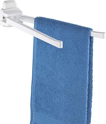 WENKO Handtuchhalter Pure - 2 bewegliche Arme, Kunststoff (ABS), 8 x 11 x 43 cm, Weiß