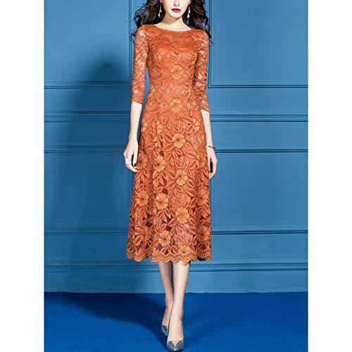 BINGQZ Cocktail Jurken Oranje kanten jurk zomer vrouwelijke zomer temperament slank afslanken een woord populair zomer rok vrouw