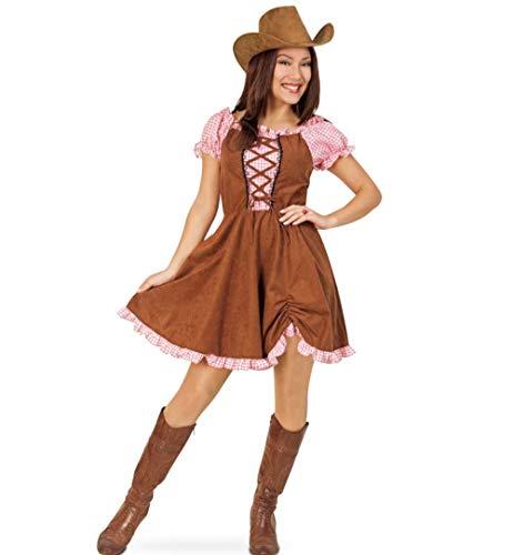 KarnevalsTeufel Cowgirl Kostüm Set, 2 TLG. Hut und Kleid rosa braun Wilder Westen (36)
