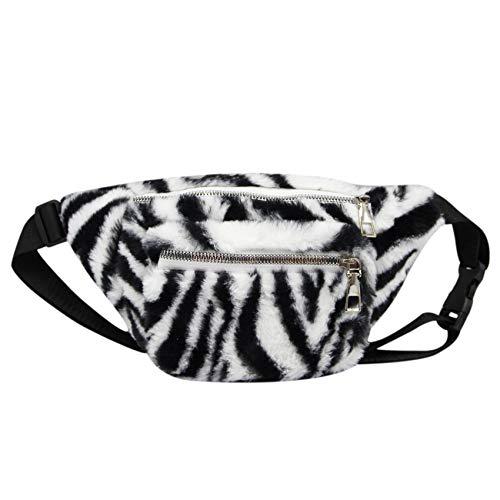 Cuddty Riñonera de felpa para niñas y mujeres, con estampado de leopardo, para correr, estampado de cebra (Azul) - CKbb-20141185A-03