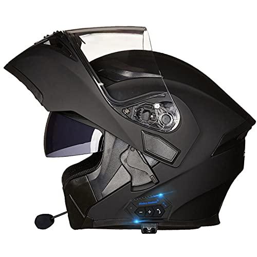 Casco de Moto Modular Bluetooth Integrado,Con Gafas de Protección Solar Dual,Con Función de Respuesta Automática,Cascos Masculinos y Femeninos,Certificación DOT/ECE A,XL=59~60CM