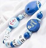 Schnullerkette mit Namen Wunschname Baby Anker Junge Prinz blau