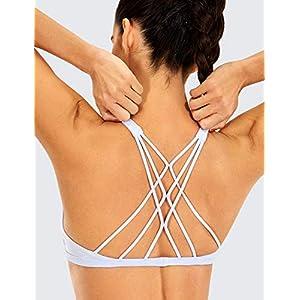 CRZ YOGA Women's Yoga Sports Bra Strappy Back Padded Low Impact Workout Bra Tops White M