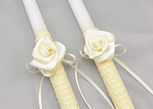 Greek Orthodox Wedding Candles with Satin Roses - Lambathes or Lambades | Ivory | Dahlia