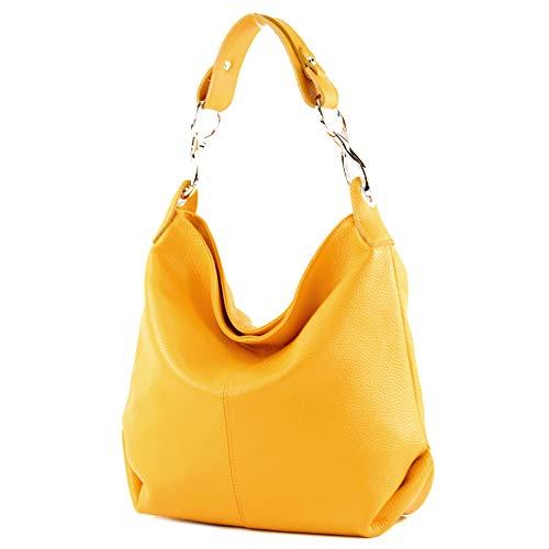modamoda de - T168 - ital Schultertasche Umhängetasche aus Leder, Farbe:Gelb
