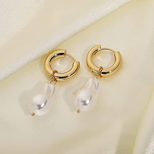 feilai Pendientes para mujer, estilo francés, gran barroco, perla grande, regalo de joyería (color principal de la piedra: oro, color metálico: JDE20177)