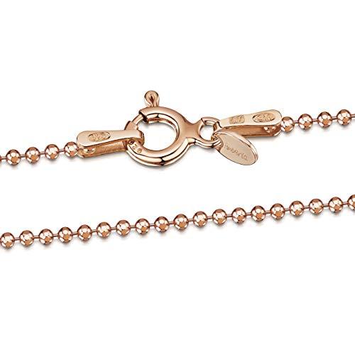 Amberta® Joyería - Collar - Fina Plata De Ley 925-14K Rosa Chapado en Oro - Diamante Corte- Cadena de Bola - 1.2 mm - 40 45 50 55 60 70 cm (50cm)