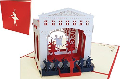 LIN17390, POP UP Karten Musik Musikal, Theaterbühne, Theatergutschein, Einladung, Geburtstagskarte, 3D Karte Ballet Theater, N262