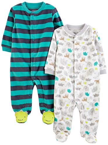 Simple Joys by Carter's Paquete de 2 pieles de forro polar para dormir y jugar ,Animal/Stripe ,6-9 Meses