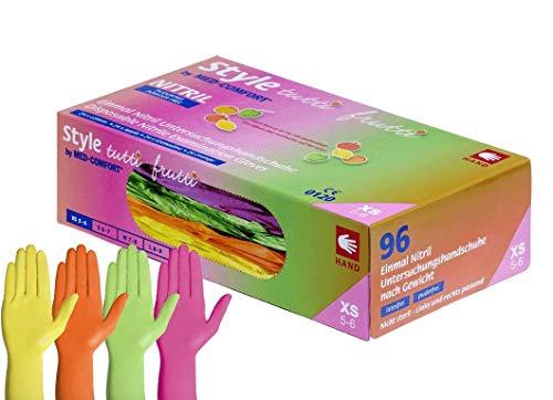 Nitril-Einmalhandschuhe Style tutti frutti, 96 Handschuhe in einer Spenderbox, Farbmix pink, orange gelb und grün, Größe M