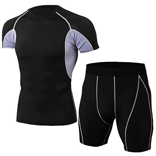Yowablo Ensemble Vêtements de Compression Homme, Vêtement Fitness Respirant Vêtements de Sport Quick Dry Tenue de Sport Pantalon Hauts Manches Courtes Tee Shirt (3XL,2Gris)