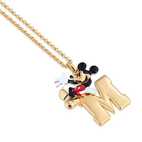Disney Couture Kingdom Topolino M - Collana placcata oro giallo con smalto rosso, bianco e nero, ciondolo a forma di Icona 90 anni