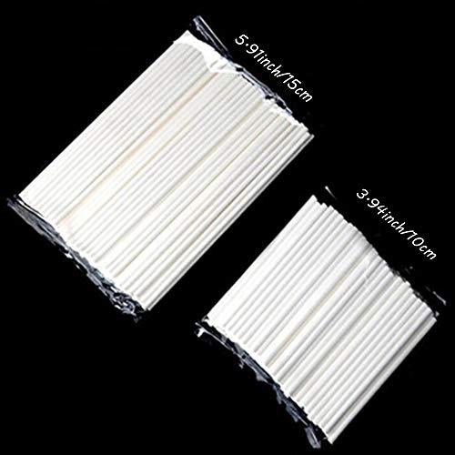 Xinlie Palos para Cake Pops Lollipop Sticks Cake Pop Sticks Lollipop Paper Sticks Lollipop Paper Sticks Cake Pop Sticks Lollipop Stick Blanco 15cm,10cm para Magdalena,Dulces,Jalea y Chocolate(200PCS)