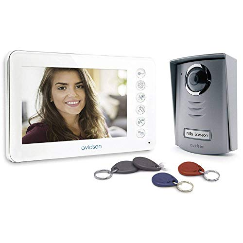 AVIDSEN 112249 bifamiliare de portero automático con cámara de vídeo a color pantalla de 3,5', 4-hilos