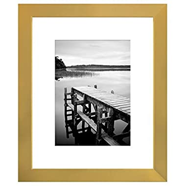 8x10 Gold Picture Frame - Made to Display Pictures 5x7 with Mat or 8x10 Without Mat - Wall Mounting Material Included