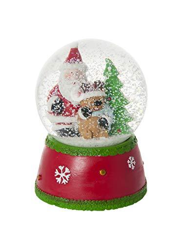 Mousehouse Gifts Palla di Neve Natale Babbo Natale e Reindeere con Neve Decorativa e Musicale