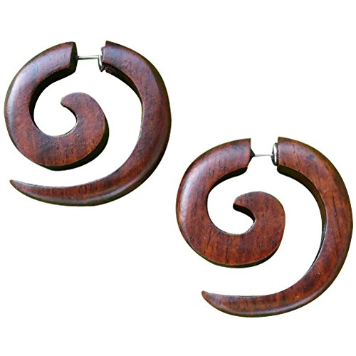 UMBRELLALABORATORY Tribal Organic Wooden Earrings Fake Gauges Sold As Pair Bohemian Jewelry Spiral Tattoo Faux Plugs tapers w 4