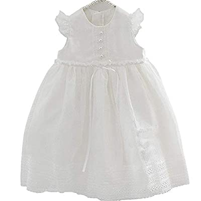 Petite JRdl04 Set of 2 Baby Infant Girl Dress and Bonnet Baptism Gown L White