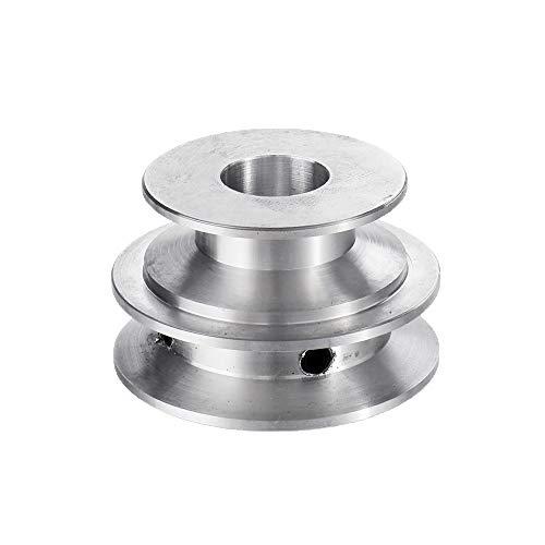 KUNSE Aleación De Aluminio Polea De Doble Ranura De 40 Y 50 Mm Rueda De Polea con Forma De V De Diámetro Fijo De 8-20 Mm para Correa De 10 Mm-16mm