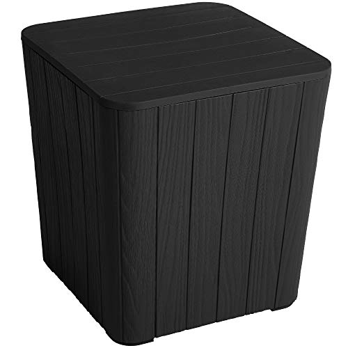 YITAHOME Outdoor Coffee Table with Extra Storage 11.5 Gallon Resin Rattan Side Table for Patio Decor,Cushions(Black)