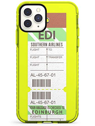 Edinburgh Vintage Baggage Tag Neon Yellow Impact Phone Case for iPhone 11 Pro Max | Protective Dual Layer Bumper TPU Silikon Cover Pattern Printed | Luggage Ticket Wanderlust Travel Pass