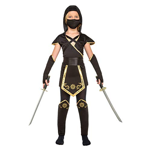 My Other Me Me-204891 Disfraz de ninja para niña, color negro, 5-6 años (Viving Costumes 204891)
