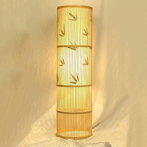 LQBDJPYS Wohnzimmertisch Stehlampe Schlafzimmerleuchte Studiobett Teeraum Yoga Bambus Bodenlicht Uplighter...