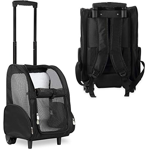 KOPEKS Deluxe Backpack Pet Travel Carrier with Double Wheels - Black -...