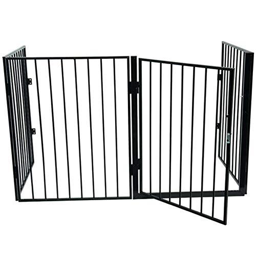 WerkaPro 10389 - Barrière de Protection pour Cheminée - 240 x 76 cm - Avec Porte d'Accès - 4 Panneaux - Livré en Kit
