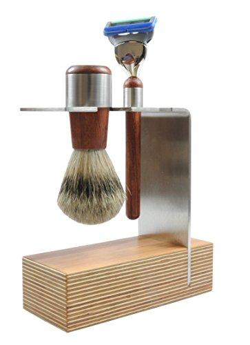 Golddachs Rasierset mit Rasierpinsel (100 Prozent Silberspitz) und Rasierer (Fusion-Klingensystem), Multiplex/Edelstahl, 1er Pack (1 x 2 Stück)