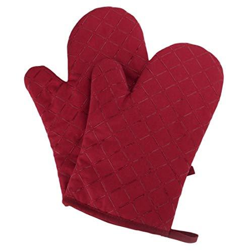 Hawiton Ofenhandschuhe Baumwolle Hitzebeständige Anti-Rutsch Topfhandschuhe Küche Backofen Handschuhe Geeignet für Kochen Backen Grillen Rot