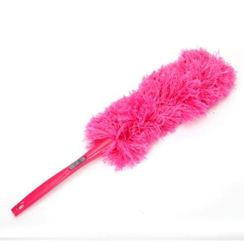 XKMY Cepillo de polvo de microfibra suave, limpiador de polvo, mango de pluma, estático, anti mágico, herramientas de limpieza para el hogar (color: rosa rojo)
