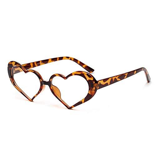 Moda Occhiali da Sole Occhiali da Sole Donna Vintage Lenti Trasparenti Ragazze Occhiali da Sole tonalità Moda Amore Cuore A Forma di Occhiali Leopardo