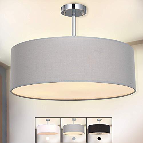 Deckenleuchte, SPARKSOR Stoff Deckenlampe, Grau Rund Pendelleuchte für Wohnzimmer Schlafzimmer Küche Esszimmer, Durchmesser 45cm, Chrom matt, Warmweiss 3-flammig E27