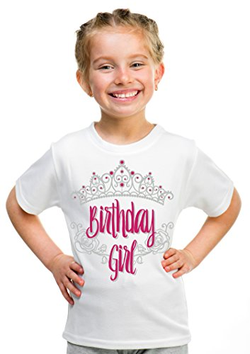 Birthday Girl Princess | Princess Party Tiara B-Day Top Girly Unisex T-shirt - (Youth,M),White