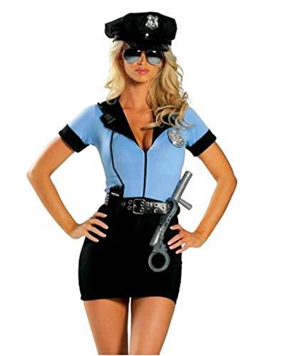 HNLHLY Sado Juguetes ParejasNuevo Disfraz de policía Elegante de Halloween Traje de policía Sexy Mujer Cosplay Lencería erótica Sexy Disfraces de policía para Mujer Vestido + Sombrero + Cinturón