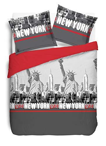 VISION New York Rouge Housse de couette et 1 taie assorti, Coton, Gris, 140x200cm