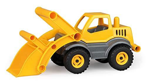 Lena 04212 - EcoActives Schaufellader, ca. 33 cm, Baustellen Spielfahrzeug für Kinder ab 2 Jahre, robuster Radlader mit Griff und beweglicher Ladeschaufel, natürlicher Holzgeruch durch Holzanteil