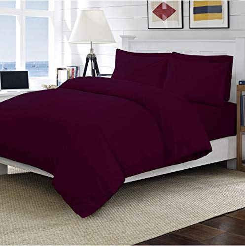 Linens World 200 Thread Count 100% Egyptian Cotton Duvet Quilt Cover Bedding Sets with Pillow cases (Plum, King)