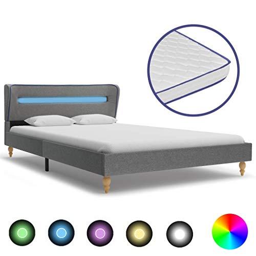 Festnight Bed met LED en traagschuim matras stof ledikantvoet voor volwassenen Kinderen lichtgrijs 140x200 cm